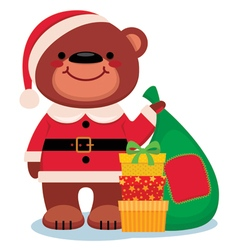 Teddy bear Santa Claus with Christmas gifts vector image