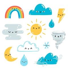 Weather set vector image vector image