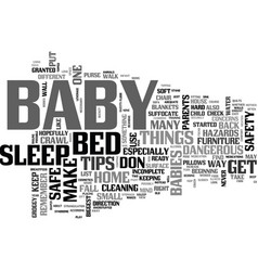 baby safety tips text word cloud concept vector image vector image
