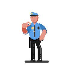 police officer eating donut vector image