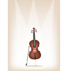 A Beautiful Brown Cello on Stage Background vector image
