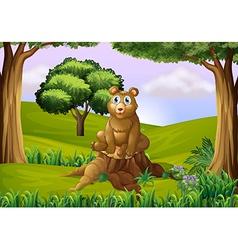 A fat bear above stump vector