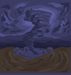 A terrifying tornado against the background of a vector