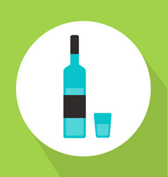 alcohol bottle with glass flat style vector image