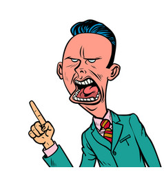 angry skeptical businessman points finger gesture vector image