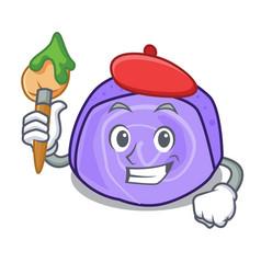 Artist blueberry roll cake character cartoon vector