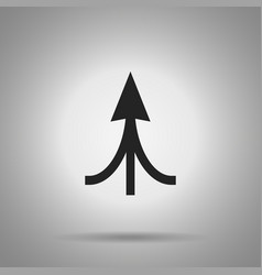 Associated arrow icon three arrow united at one vector