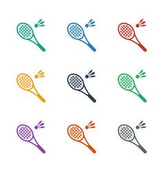 Badminton icon white background vector