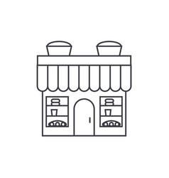 Bakery building thin line icon concept bakery vector