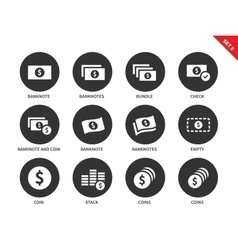 Banknote and coins icons on white background vector image
