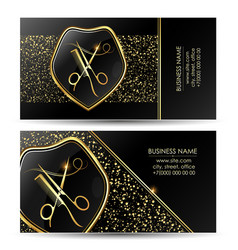 Beauty salon business card golden black scissors vector