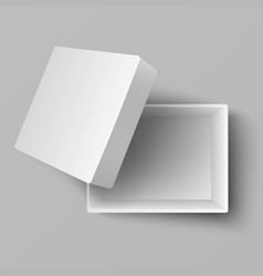 Blank white open cardboard gift box top view 3d vector