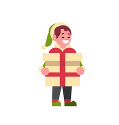 boy elf santa claus helper hold gift box present vector image