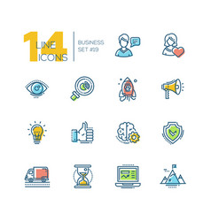 business - colored modern single line icons set vector image