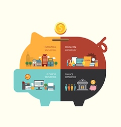 Business investment saving concept infographic pig vector image