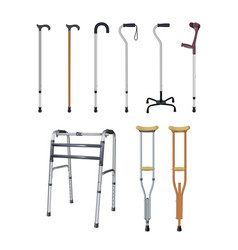 Canes crutches and walkers set of special vector