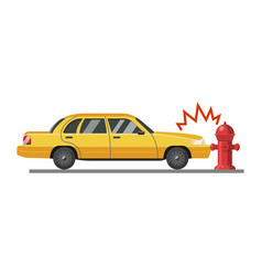 car accident icon vehicle in dangerous street vector image