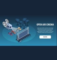 car cinema horizontal banner vector image