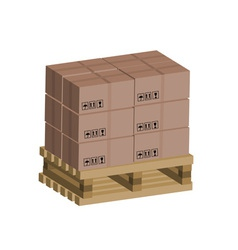 Cardboard boxes on wooden pallet vector image