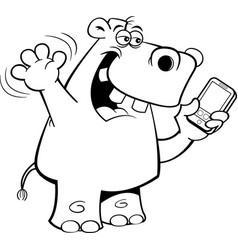 Cartoon rhinoceros holding a cell phone vector