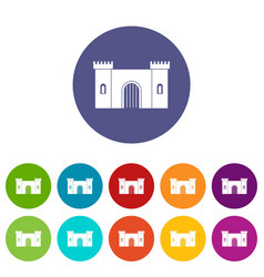 Castle tower icons set flat vector