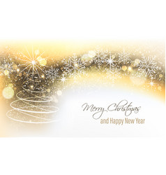 Christmas and new year banner with christmas tree vector