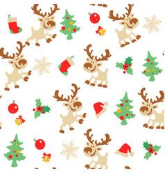 Christmas deer seamless pattern vector