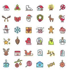 christmas holiday set icons vector image