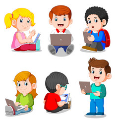 Collection boy and girl studying with laptop vector