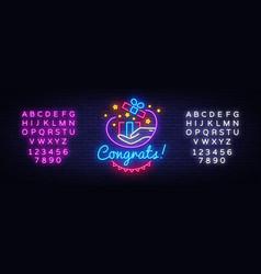 congrats neon signboard gift neon sign vector image
