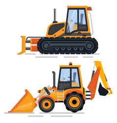 Construction machinery bulldozer automobile set vector