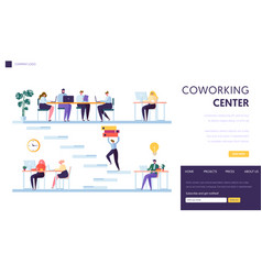coworking office space landing page freelancer vector image