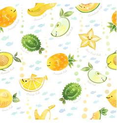 Cute fruits mix fish characters seamless pattern vector