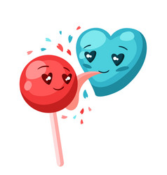 Cute heart licks candy valentine day greeting vector