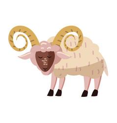Cute ram animal trend cartoon style vector