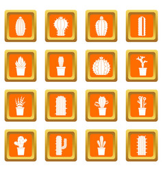 Different cactuses icons set orange vector