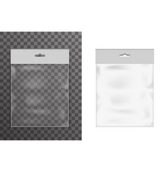 Empty food plastic packaging bag icon set vector