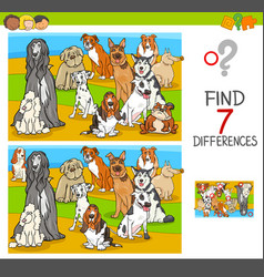 Find differences game with dog animal characters vector