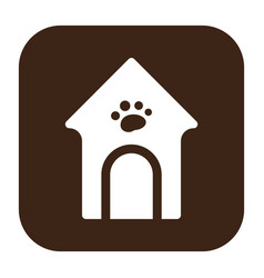 Flat color dog house icon vector