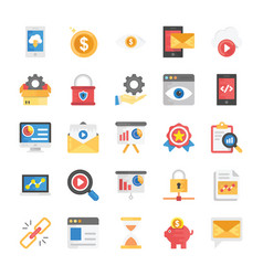 flat icons seo and marketing vector image