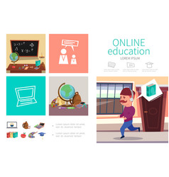 flat online education infographic concept vector image