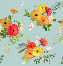 Floral seamless pattern summer and autumn flowers vector