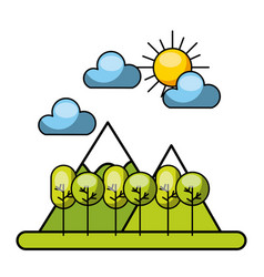 Forrest with clouds and sun image vector