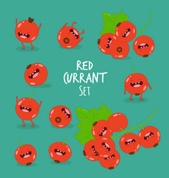 funny red currant set vector image