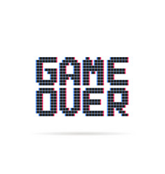 game over logo like glitch pixel art style vector image