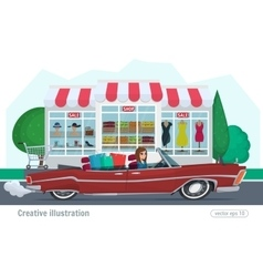 Girl rides on a red convertible with shopping car vector image