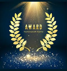 Golden shiny award sign laurel wreath on dark vector