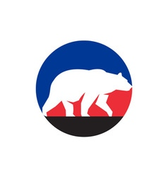 Grizzly Bear Walking Silhouette Circle Retro vector
