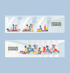 hairdressing courses in salon set banners vector image