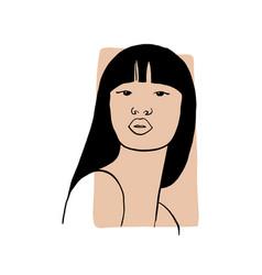 Hand draw outline portrait asian woman vector